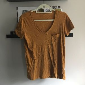 Mustard Short Sleeve V-Neck Tee with Front Pocket